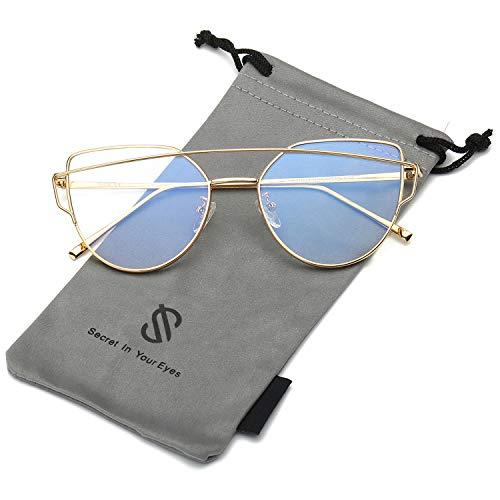 SOJOS Gafas De Sol De Moda Marca Metal Para Mujer-Lentes Planos De Espejo- Con Estilo Ojo De Gato SJ1001 Marco Oro/Lente Transparente