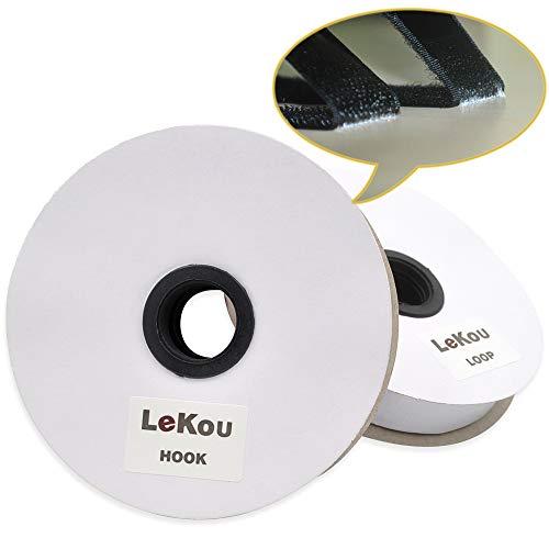 Lekou Klettband Selbstklebend Extra Stark mit Klettverschluss, 5M Doppelseitiges Klettband Klebepad (20mm Breit), Flauschband und Hakenband, Starker Halt Klettbänder für Wände und Boden