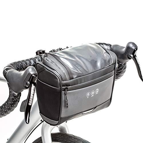 Sac de guidon de vélo sac de vélo de montagne étanche multifonctionnel avec bandes réfléchissantes et écran tactile en PVC pour bouteille d'eau de téléphone pour carte de vélo / VTT, 22,5 * 19 * 12 cm
