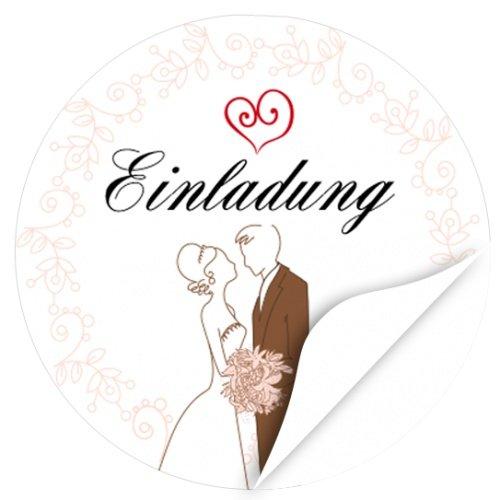 48 Design Etiketten, rund/Einladung/Hochzeitspaar gezeichnet/Hochzeit/Liebe/Heirat/Aufkleber/Sticker/für Einladungen/Feiern