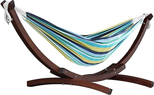 vivere c8spct de 29doble hamaca de algodón con estructura de arco Estable de Massi vki mando a madera, multicolor, 259x 119x 104cm