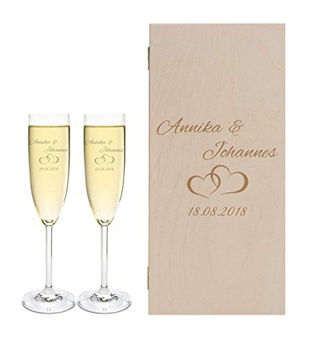 LEONARDO 2 Sektgläser mit Geschenkbox und Gravur Paar Hochzeit Geschenkidee Sektglas-Set graviert
