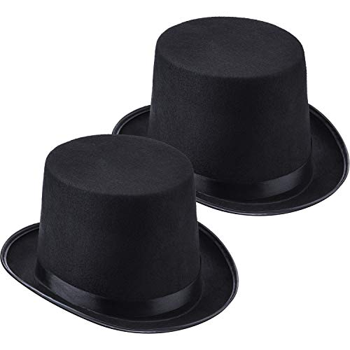 2 Packs Funny Party Hats Black Felt Top Costume Hat Dress Up Hats for Men and Women Unisex