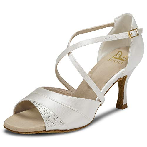 JIA JIA 20522 Damen Sandalen Ausgestelltes Heel Super-Satin Latein Strass Tanzschuhe Farbe Elfenbein,Größe 38 EU