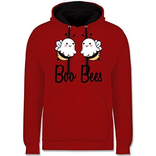 Shirtracer Halloween - Boo Bees - schwarz - S - Rot/Schwarz - Spruch - JH003 - Hoodie zweifarbig und Kapuzenpullover für Herren und Damen