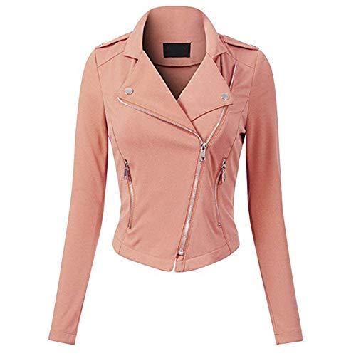 Huaheng Vrouwen Motorfiets Jas Jassen Lange Mouw Casual Rits Jas Outdoor XL roze