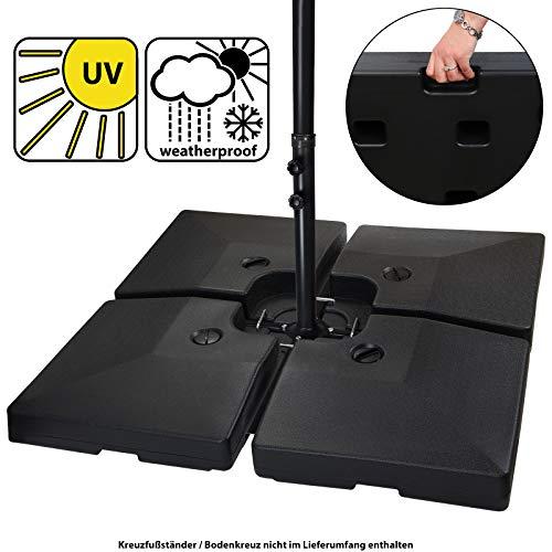 BB Sport Sonnenschirmständer 4-teilig Schirmgewicht für Ampelschirm Bodenkreuz schwarz 90 Liter / 120 kg - befüllbar mit Wasser oder Sand