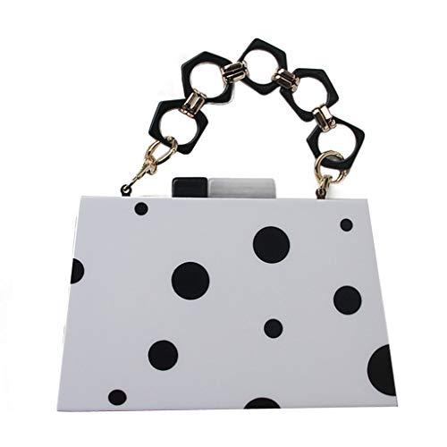 Chenso Bolso de mano para mujer, acrílico, negro y blanco, caja de clutch, bolso de noche, boda, fiesta de graduación, bolso cruzado