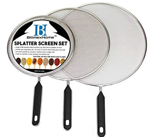 Grease Splatter Screen For Frying Pan Cooking - Stainless Steel Splatter Guard Set of 3-8', 10' and 11' inch - Super Fine Mesh Iron Skillet Lid- Hot Oil Shield to Stop Prime Burn (3, 8',10',11')
