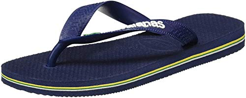 Havaianas Unisex Men's Boys Brasil Logo Flat Flip Flops UK 9/10 - BRA 43/44 Navy Blue