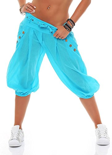 Malito Damen Pumphose in Unifarben | lässige Kurze Hose | Bermuda für den Strand | Haremshose - Pants 3416 (Babyblau)