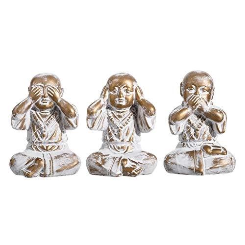 D,casa - Set 3 figurita Buda de Suerte poliresina Decoracion 15 cm (Ver, oir, callar)