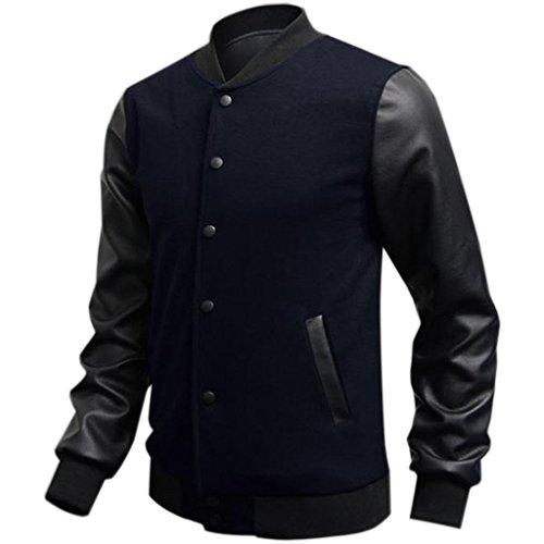 Minetom Slim Fit en PU Coutures en Cuir Homme Varsity Veste de Baseball de (Bleu foncé FR 50)