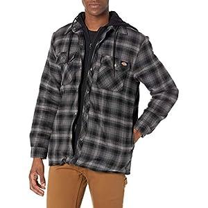 Dickies Men's Relaxed Fleece Hooded Flannel Shirt Jacket