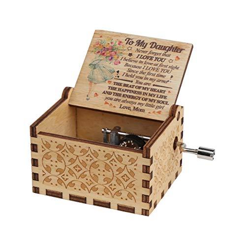Vegena Hölzerne Handkurbel,Musikkästchen aus Holz, Hölzerne Spieluhr, Antike Geschnitzte Hölzerne Handkurbel-Spieluhren Vintage-Box, Kinder Geburtstage Weihnachten