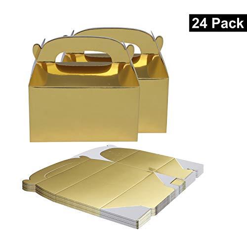 BELLE VOUS Geschenkbox (24-er Pack) - 15 x 16 x 9,3cm Goldene Klein Geschenkbox - Party Food Schachtel – DIY Mitgebsel Box für Gastgeschenke, Geburtstag, Babyparty, Gastgeschenke Hochzeit