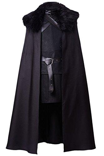 Manfis Disfraz de Cosplay  El comandante medieval Lord de la Guardia de Noche para hombre, negro, M