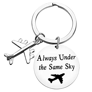 Long Distance Relationship Gift Couple Keychain Friendship Keychain Gift for Husband Wife Boyfriend Girlfriend Sister Graduation Birthday Gift Airplane Keychain Pilot Gifts Under The Same Sky Keyring