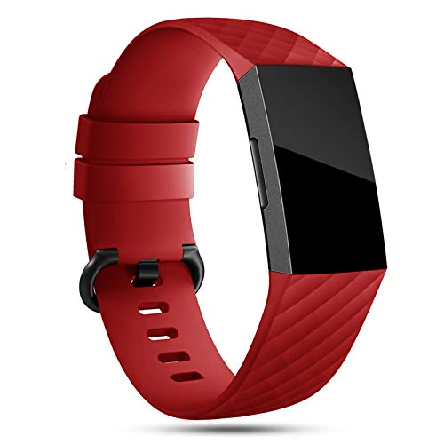 Onedream Armband Kompatibel für Fitbit Charge 3/ Charge 4 Special Edition Uhrenarmband Damen Herren, Klassisch Sport Silikon Uhr Zubehör Ersatzarmband Rot L