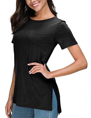 Summer Cute Black Tops for Womens Short Sleeve Loose T-Shirts Tees with Side Split M