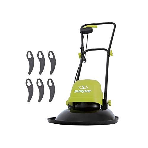 Sun Joe MJ-HVR12E 10-Amp 11-Inch Electric Hover Mower, 3 Rotating Cutting Blades Provide a Crisp, Wide, Wheel-Free Cutting Path, Green