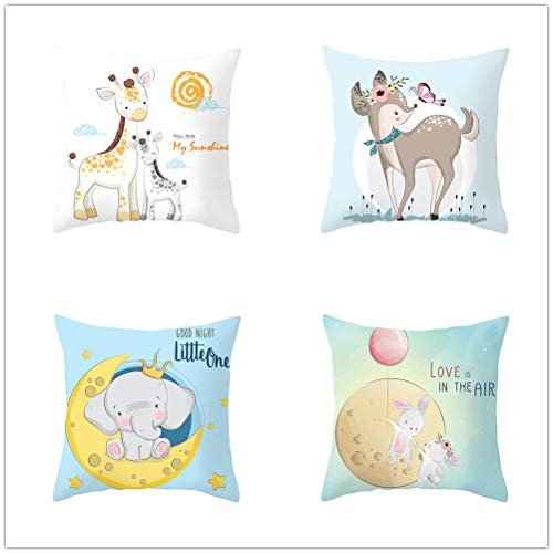 Pack de 4 Fundas de Cojines Animales De Dibujos Animados Funda de Almohada Cuadrado Terciopelo Suave con Cremallera Invisible para Sofá Decor para Hogar Throw Pillow Case E2991 35x35cm/13.7x13.7in
