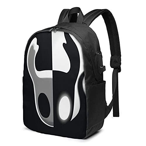 Hol-low Knight Mochila de viaje para portátil con puerto de carga USB y 17 pulgadas para computadora de negocios, bolsas escolares