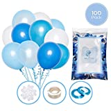 Balloons by Koko Set de 100 Globos Azules y Blancos + 100m Cinta | 5 Colores Distintos | Globos de látex de 12 Pulgadas | Decoración para cumpleaños, comunion, bautismos y Baby Shower