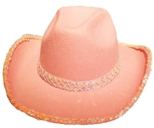 KARNEVALS-GIGANT Cowboyhut in rosa mit Pailletten Hut für Cowboy Kostüm für Erwachsene