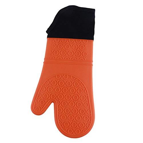 Candy Color - Guantes de silicona resistentes al calor para cocinar, barbacoa, guantes de cocina y microondas, guantes para horno, color naranja
