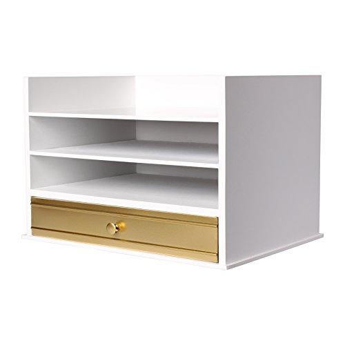 Étagère à courrier en bois Kate and Laurel - Bac à lettres pratique avec 3plateaux et 1 tiroir - Blanc et doré