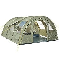 CampFeuer Tunnelzelt Multi Zelt für 4 Personen   riesiger Vorraum, 5000 mm Wassersäule   mit Bodenplane und versetzbarer Vorderwand   Campingzelt Familienzelt (olivgrün)