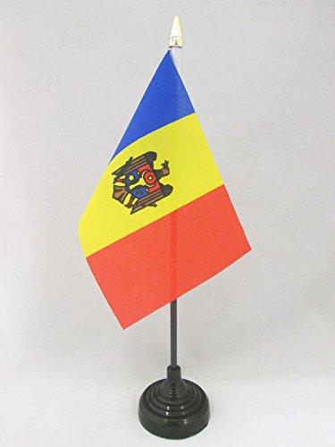 AZ FLAG TISCHFLAGGE MOLDAWIEN 15x10cm goldene splitze - MOLDAUISCHE TISCHFAHNE 10 x 15 cm - flaggen