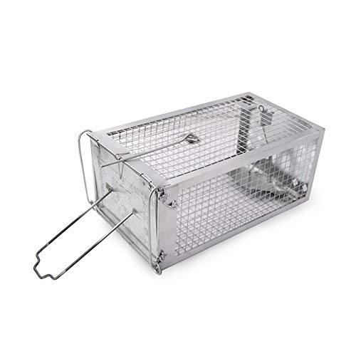 Cestbon Lebendfalle Rattenfall Mausefalle Lebend Falle Metall, Für Wühlmause Mäuse Ratten Siebenschläfer,Silber