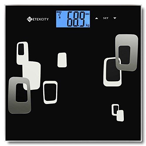 Etekcity EF984H Báscula de Baño Digital con Análisis Corporal, Mide el Peso, Grasa Corporal, Porcentaje de Agua, Músculo, Hueso y Caloría, Analizador Corporal con la Tecnología BIA, Balanza Digital Baño 400lbs/180kg, Negro