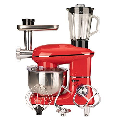 W&HH SHOP Robot de pastelería 5.5L, 1500W 6 velocidades Bateristas en la Base de la Cocina Robot con batidor, Gancho de Pulpa, Baterista y Picador de Carne, Robot de Petrin