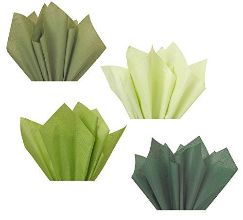 Forest Sage Olive Moss Green Assorted Mixed Color Multi-Pack Tissue Paper for Flower Pom Poms Art Craft Wedding Bridal Shower Party Gift Bag Basket Filler Decoration