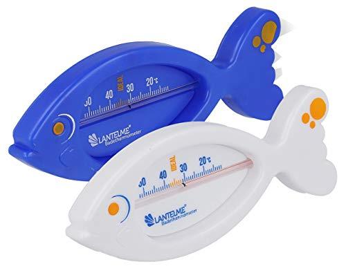 Lantelme 2 Stück Bade Thermometer für Baby und Kinder für die Badewanne Badethermometer Set analog Fisch blau weiß 7556