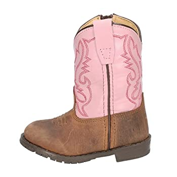 Smoky Mountain Boots   Hopalong Series   Toddler Western Boot   U-Toe Leather   TPR Sole & Walking Heel   Man-Made Lining   Distressed Design