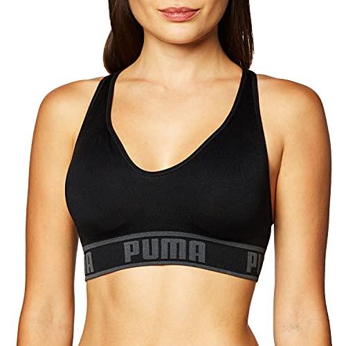 PUMA Women's Seamless Sports Bra, Black, Large