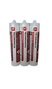 3 x Profesional para reparación de tejado grueso, pegamento frío, sellador, cartucho negro 310 ml