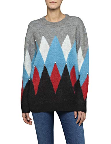 REPLAY Dk6009.000.g22652 suéter, Negro (Black/Grey/Turquoise/Red/White 20), X-Large para Mujer