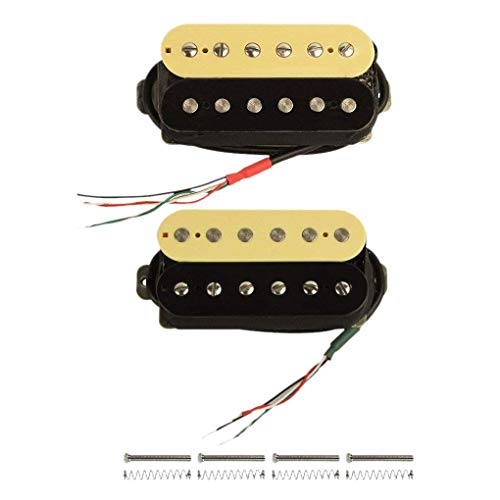 Facibom Alnico V Gitarren Ton Abnehmer Mit Hoher Ausgangs Leistung Dual Spulen Doppel Spulen Ton Abnehmer Hals Und Brücke Set (Zebra + Schwarz)
