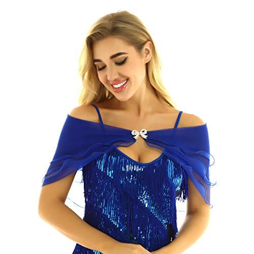 dPois Damen Organza Cape Braut Schal Stola Wraps Bolero Schulterfrei mit Verschluss Hochzeit Abende Zubehör für Kleid Brautkleid Abendkleid Blau One Size
