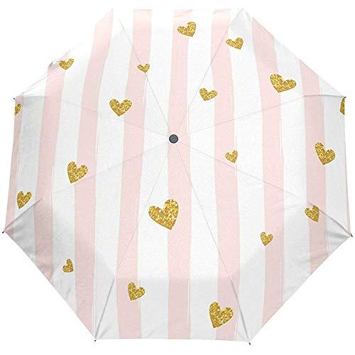 Netter rosa gestreifter Streifen-Herz-Autoöffnungs-nahes Sun-Regen-Regenschirm