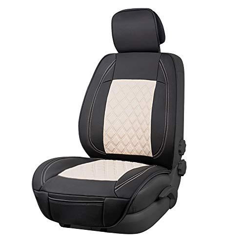Amazon Basics - Funda Deluxe de asiento de cuero sintético de ajuste universal sin laterales, negro y beige