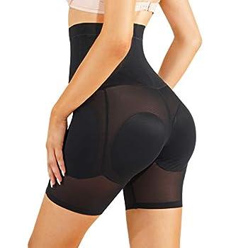 Irisnaya Women Shapewear Control Panties Body Shaper Butt Lifter Padded Hip Enhancer Seamless Underwear Hi- Waist Trainer Short  XX-Large Black
