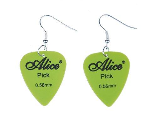 Aretes Plectro plectro pendientesbanda guitarra eléctrica verde