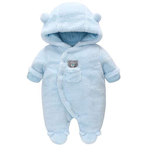 Vine Traje de Nieve Bebé Ropa de Invierno FOOTED Peleles Mameluco con Capucha Cálido Monos para Niños Niñas, Azul 6-9 Meses