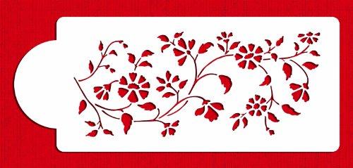 Designer Stencils Plantilla C488Chintz Floral para Decorar Tartas Lateral, Beige/Semi-Transparente